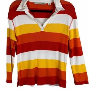 Tommy Hilfiger 3/4 sleeve striped polo shirt large